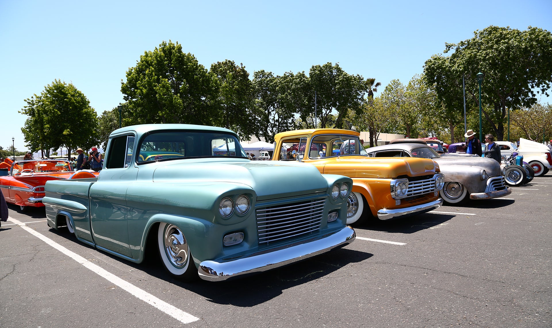 Cool pair of blue and yellow trucks