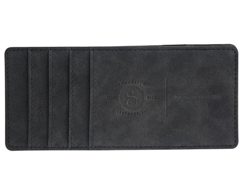 Suavecito Large Embossed Magic Wallet - Matte Black - Front