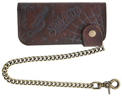 Suavecito Patterned Chain Wallet - Antique Brown - Front