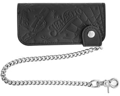 Suavecito Patterned Chain Wallet - Black - Front