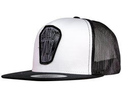 White Trucker Hat With Black Bill And Coffin Logo