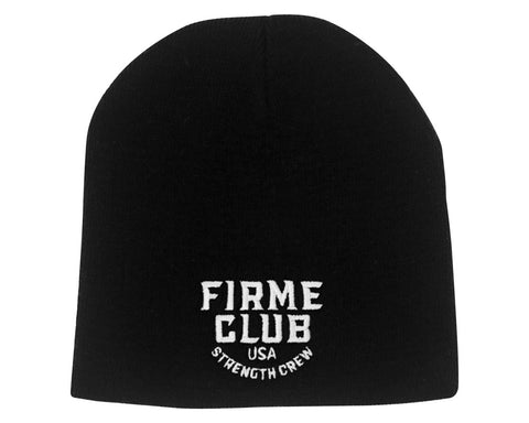 Black Beanie With Firme Club Strength Crew Logo On Front