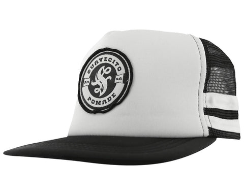 Black/White Striped Trucker Hat - Angled