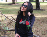 Red Thorn Tee - Black Long Sleeve - Model is wearing a size small tee.