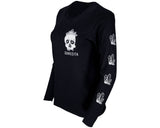 Crystal Skull Tee - Black Long Sleeve - Angled