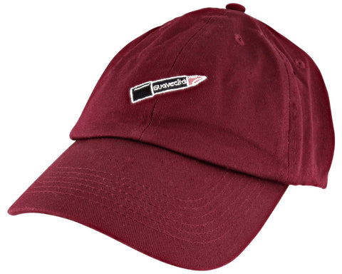 Women's Burgundy Hat With Cita Lipstick Patch - Angled