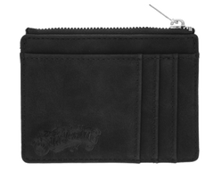Zipper Card Holder Wallet - Black - Front