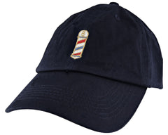 Navy Blue Hat With Barber Pole Logo On Front - Angled