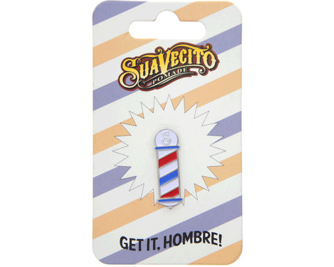 Barber Pole Enamel Pin - Packaging Front