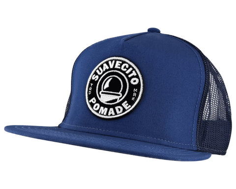 Navy Blue Trucker Hat With Barber Shop Logo On Front - Angled