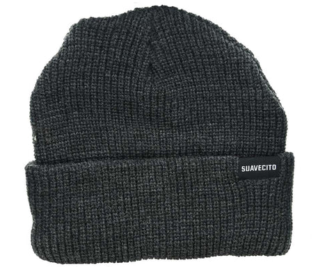Charcoal Beanie With Block Script Logo - Front