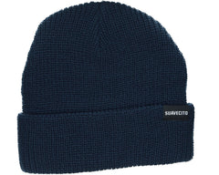 Navy Blue Beanie With Block Script Logo - Front