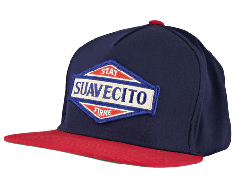 Navy Blue Hat With Red Bill and Bristol Logo - Angled