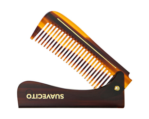 "Deluxe Amber Folding Handle Comb - 8"" - Folded"