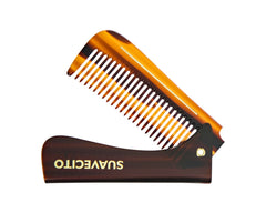 "Deluxe Amber Folding Handle Comb - 6.5"" - Folded"