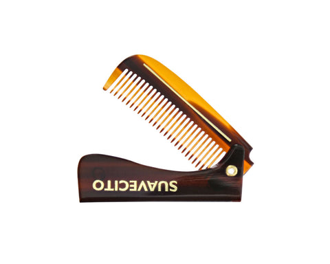 "Deluxe Amber Folding Handle Comb - 5.5"" - Folded"