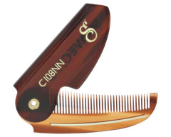 Deluxe Amber Folding Mustache Comb Folded S Logo Side