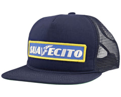 Navy Blue Trucker Hat With Free Wheelin' Logo - Angled