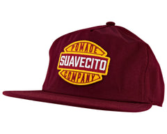 Burgundy Hat With Garage Logo - Angled
