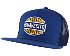 Navy Blue Trucker Hat With Garage Logo - Angled