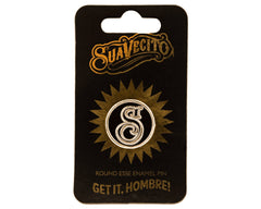 Round Suavecito Gold Enamel Pin Front With Packaging