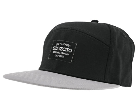 Two Toned Snap-Back Hat With Woven Label Patch - Angled