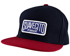 Navy Blue Snapback Hat With Suavecito Text - Angled