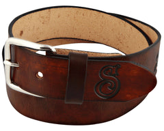 Antique Brown OG Script Leather Belt