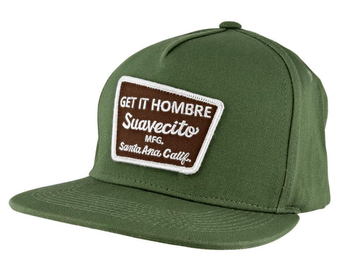 Green Hat With Brown Momentum Logo - Angled