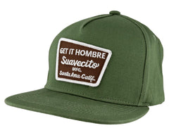 e9ea63cfeca03 Green Hat With Brown Momentum Logo - Angled
