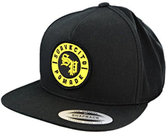Black Snapback Hat With Old E Logo Patch - Angled