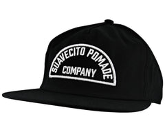 Black Hat With Suavecito Pomade Company Text - Angled
