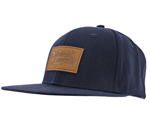 Navy Blue Hat With Rawhide Patch - Angled
