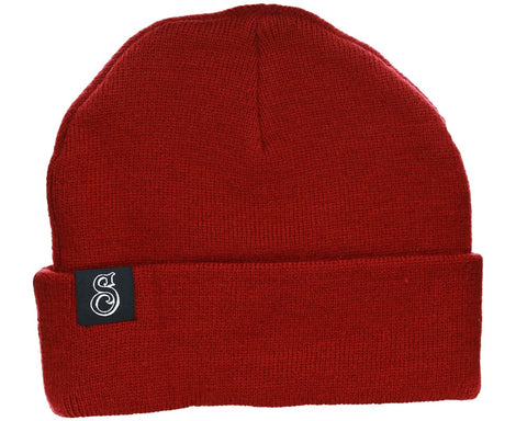 Burgundy Beanie With Esse Logo - Front