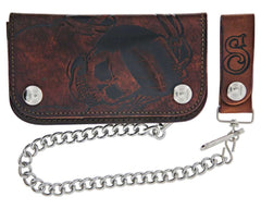 Antique Brown Skeleton Chained Biker Wallet