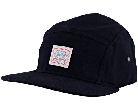 Navy Blue Stay Firme 5 Panel Hat - Angled