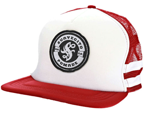 Red/White Striped Trucker Hat - Angled