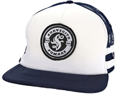 Navy Blue/White Striped Trucker Hat - Angled