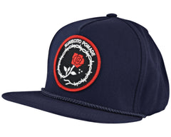 Navy Blue Hat With Tough Love Patch - Angled