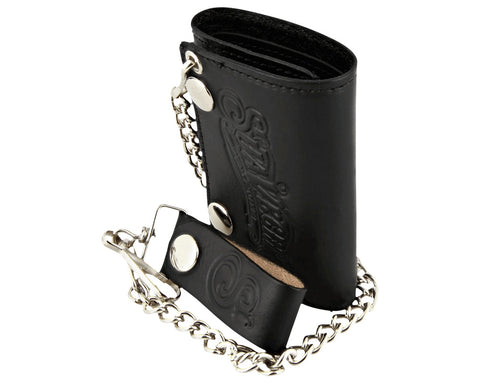Men's Tri-Fold Chain Wallet - Black