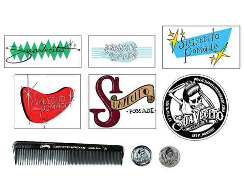Suavecito Survival Kit Includes 6 Stickers, 2 Pins And A Comb