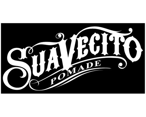 White Suavecito Script Vinyl Sticker On Black Background