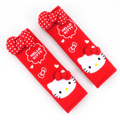 Hello Kitty Seat Belt Cover 2pcs Set: Red