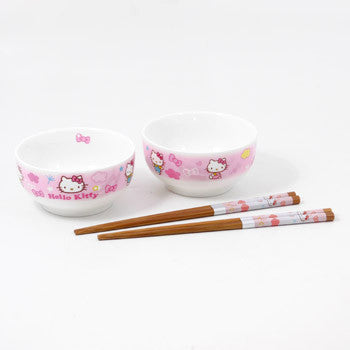 Picture of Hello Kitty Ceramic Bowl & Chopsticks Set