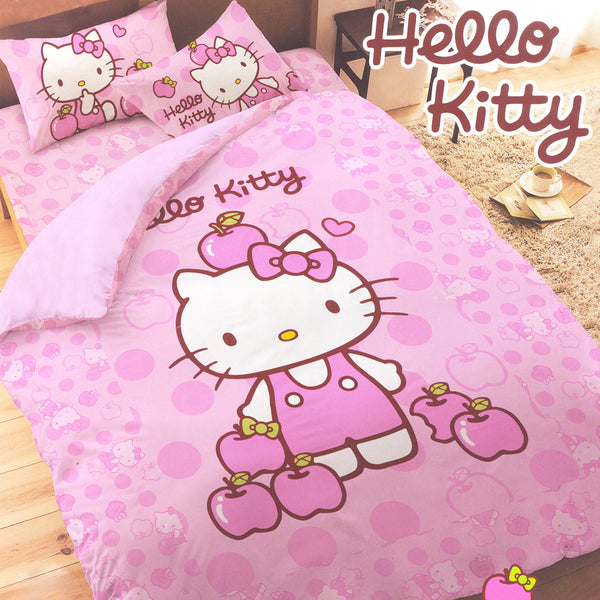 Hello Kitty 3 Piece Single Bedding Set: Apples