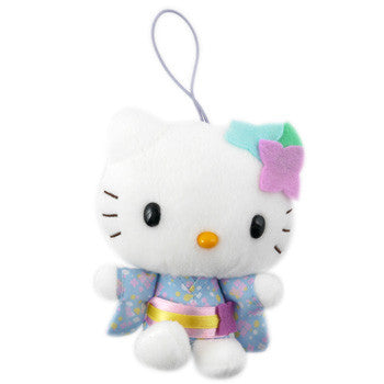 Picture of Hello Kitty Plush: Light Blue Kimono/Flowers