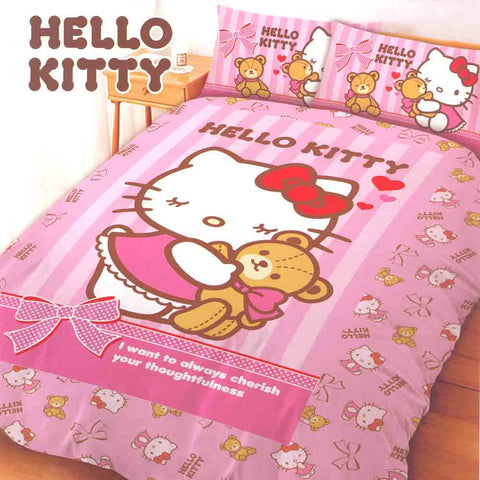 Picture of Hello Kitty 4 Piece Double Bedding Set: Teddy Bear