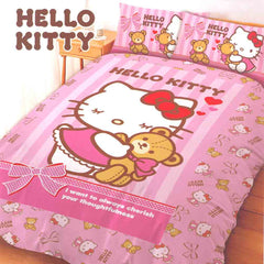 Hello Kitty 4 Piece Double Bedding Set: Teddy Bear