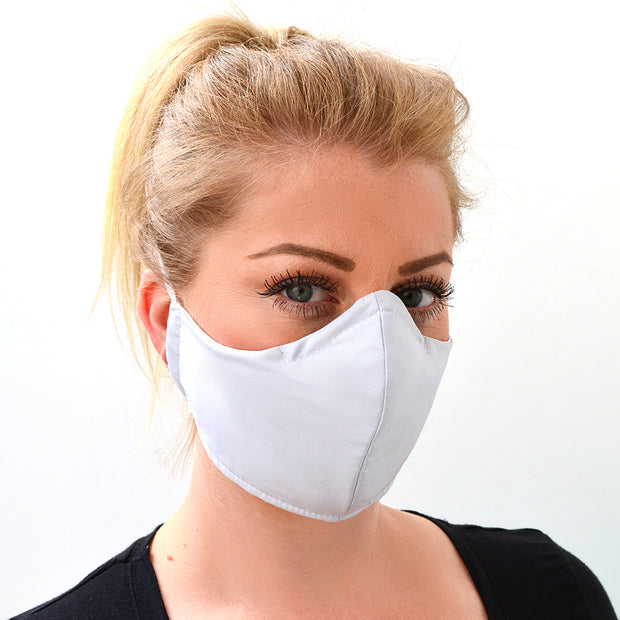woman wearing a 3 layer reusable light grey face mask sasmask by screen and shield