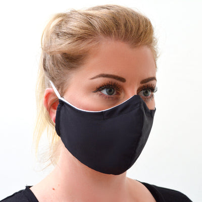 woman wearing a 3 layer reusable black face mask sasmask by screen and shield